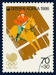 POSTAGE STAMPS OF SEOUL OLYMPICS 1988, horse riding, Light brown, Red, 1986 03 25, 88 서울올림픽, 1986년 3월 25일, 1411, 승마, postage 우표