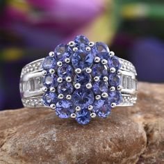 Tanzanite (Rnd 2A), White Topaz Ring in Platinum Overlay Sterling Silver Nickel Free (Size 8.0) TGW 3.93 Cts.