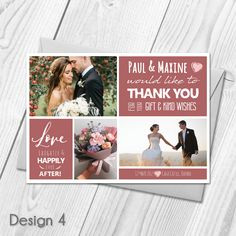 Personalised Wedding Thank You Cards with Photo | Wedding Cards & Envelopes  Custom Made With Your Own Text & Photo  All orders include FREE UK 1st Class Royal Mail delivery