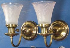 Early Electric Brass Wall Lights