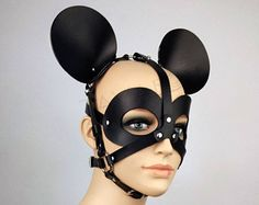 Leather Mask Mickey Mouse, Fetish Mask Mickey Mouse, Party Mask Mickey Mouse, BDSM Mask Mickey Mouse, Leather Mickey Ears