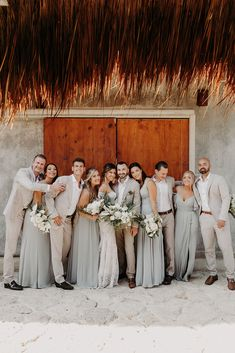 Bridal Party with the bridesmaids and groomsmen ∙ Planning, designing by Destination Weddings Tulum ( on IG) Flowers by Moni Junco ( on IG)Makeup & Hairstyle by Dahena ( on IG) Destination Wedding Groomsmen, Beach Wedding Bridesmaids, Boho Beach Wedding, Bridesmaids And Groomsmen, Destination Weddings, Wedding Tux, Wedding Goals, Wedding Things, Dream Wedding