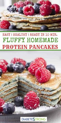 Easy Protein Pancakes! Sugar-free and healthy. Just oats, egg whites, blueberries, baking powder, protein powder, and Stevia. #pancakes #breakfast #diabeticrecipes #lowcarb #BakingSodaBeautyUses Low Carb Breakfast, Breakfast Recipes, Breakfast Ideas, Diabetic Breakfast, Breakfast Time, Diabetic Recipes, Low Carb Recipes, Diabetic Deserts, Diabetic Foods