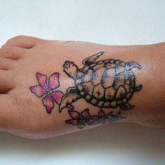 foot tattoo flowers n turtle by wild_dark_and_stormy, via Flickr
