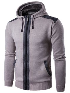 CuteRose Men Classic Double Breasted Fall Winter Parka Hoodie Jackets Coat