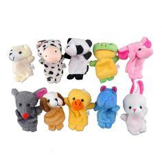 10 stks/partij kerst mini pluche baby speelgoed dier familie vingerpoppetjes set vis australië prinses bug jongens meisjes vingerpoppetjes