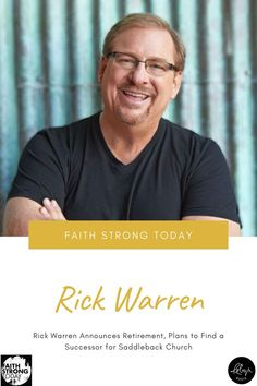 On June 6, Pastor Rick Warren announced to his congregation his plan to retire after 51 years in ministry, and nearly 42 years as the lead pastor of Saddleback Community Church in Lake Forest, California. The evangelical Christian pastor and author was quick to add that his intention is to make a smooth transition into a less visible role, from lead pastor to founding pastor. The first step for the church is to begin the official search for Warren's successor. Pastor Rick Warren, Writing Portfolio, Strong Faith, Writing Styles, Retirement Planning, First Step, Author, The Incredibles, Lake Forest