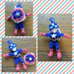 Rainbow Loom Captain America with Shield made 05/05/14