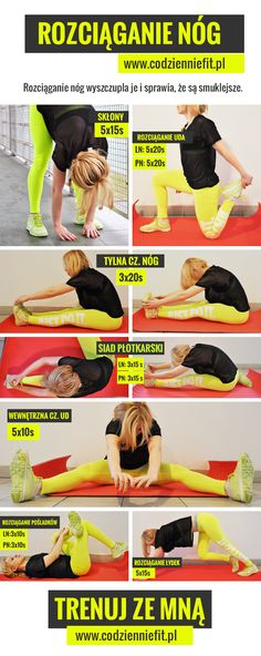 Rozciąganie nóg, ćwiczenia na rozciąganie Keep Fit, Stay Fit, Health And Fitness Articles, Health Fitness, Stretches For Legs, Fitness Workout For Women, Nursing Tips, Health Trends, Yoga