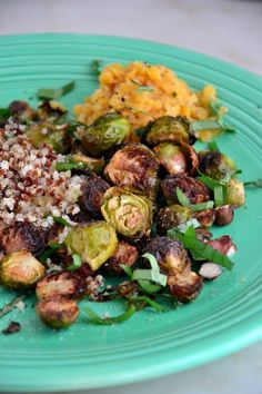 Honey Roasted Brussels Sprouts with Quinoa & Lentil Pilaf {Gluten-Free, Dairy-Free, Vegan}