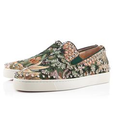 Christian Louboutin pik boat flat multicolor tapestry suede