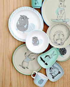 Bloomingville Ceramic Marius Plate with Rabbit, Multicolor Designers Guild, Le Castor, Box Container, Noah, Kitchenware, Tableware, Deco Table, Ceramic Painting, Painted Ceramics
