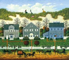 """Nantucket Winds"" by Charles Wysocki - Desk calendar for the week of April 8-14 - I love the straight edges of the paths leading up to the houses and The Brick Oven Bake Shoppe buggy passing in the foreground."