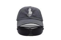 Mens Polo Ralph Lauren Big Pony Embroidered No. 3 Left Stitched Strap Back Adjustable Cap - Graphite