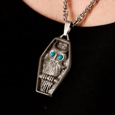 Owl in Coffin Charm Necklace by TwiceBakedVintage