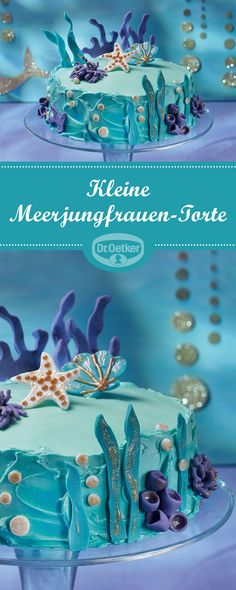 Kleine Meerjungfrauen-Torte Little Mermaid Cake: Sweetly decorated cake filled with butter cream Little Mermaid Cakes, The Little Mermaid, Peanut Butter Cookie Bars, Purple Drinks, Coconut Smoothie, Gateaux Cake, Gingerbread Cake, Easy Smoothie Recipes, Maila