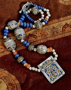 MOROCCAN Necklace - Tribal Necklace - Enamelled Pendant - Lapis Lazuli Gemstones - Berber Silver Necklace.