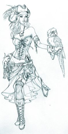 Pirate Girl Sketch by *giselleukardi on deviantART love this one would be even better with color Tattoo Pirate, Pirate Girl Tattoos, Pirate Princess Tattoo, Pirate Parrot Tattoo, Pirate Tattoo Sketch, Pirate Themed Tattoos, Pirate Mermaid Tattoo, Pirate Art, Pirate Woman