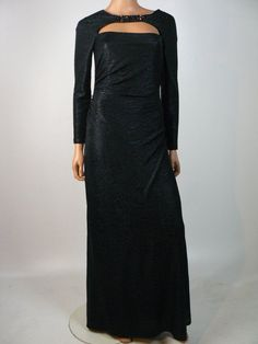 $648 David Meister Black Textured Keyhole Cut Out Stretch Sheath Gown