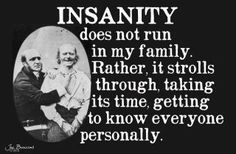 """""""Insanity does not run in my family. Rather, it strolls through, taking its time, getting to know everyone personally."""""""