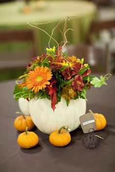 Pumpkin wedding centerpiece with a white pumpkin filled with seasonal fall flowers and surrounded by smaller orange pumpkins. Beautiful for a fall wedding!