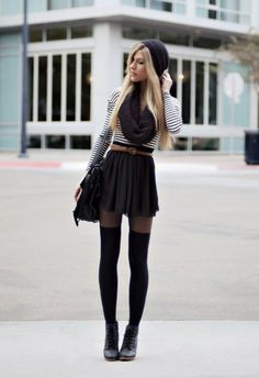 Sooo cute and soo simple. City school girls- perfect outfit to be comfortable yet stylish. Pleated skirt is back and better then ever. I love the tights and stockings together for extra warmth and style. The infinety scarf is so popular #DIY #FASHION #DRESS