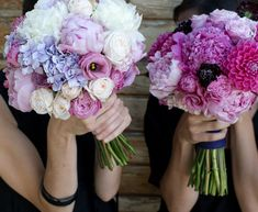 love these bouquets! i like this size/style of bouquet. tight and clean. just a little ivory white flowers in my bouquet. Purple Wedding Flowers, Wedding Bouquets, Beautiful Flowers, Beautiful Bouquets, Purple Bouquets, Beautiful Beautiful, Lavender Flowers, Absolutely Gorgeous, Dream Wedding