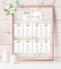Olive Greenery Chart Cards Template, Wedding Seating Chart Printable, Table Seating Cards, instant Download, Pdf Editable.  #weddings #invitation #green #wedding #greenery wedding #gold #olivewedding #instantdownload #seatingchart #tuscanywedding #italywedding