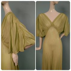 1930s Bias Cut Long Sheer Silk Chiffon Gown with Puff Sleeves