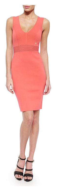 Versace Collection Sheath Dress with Ribbed-Knit Detail - on #sale 55% off @ #NeimanMarcus  #Versace