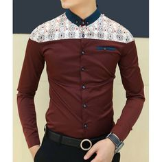 Casual Style Long Sleeves Slimming Turn-down Collar Personality Abstract Print Shoulders Splicing Design Cotton Blend Joker Shirt For Men Casual Shirts, Casual Outfits, Men Casual, African Shirts For Men, Shirt Collar Styles, Mens Designer Shirts, Stylish Boys, African Men Fashion, Apparel Design