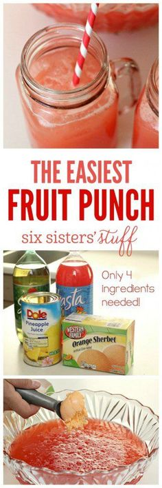 The Easiest Fruit Party Punch on http://SixSistersStuff.com | This party punch tastes delicious and comes together in a matter of minutes!