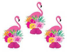 FLAMINGO HONEYCOMB TABLE DECORATION PACK OF 3
