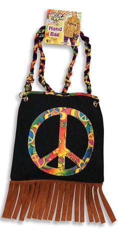 Ladies 1960s Hippy Hippie Boho Peace Sign No War Hand Bag Fancy Dress Costume #Unbranded #MessengerCrossBody