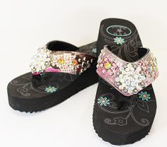 Metallic rhinestone concho western flip flops from www.cowgirlshine.com $39 available n pink, silver, purple or turquoise