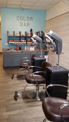 Inspiration discovered by Drift Salon. In the color bar we used the Vantage chairs with Minerva rollabout and the rotary hair  color processor.  This gives the salon that professional and high tech look while still keeping the beachy theme that can be found in the salon.  #driftsalon #minervasalon2015 @bloomdotcom