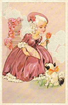 couleur rose - Page 8 Vintage Abbildungen, Vintage Children's Books, Vintage Girls, Vintage Prints, Vintage Greeting Cards, Vintage Postcards, Vintage Pictures, Vintage Images, Halloween Vintage