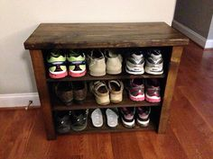 """Distressed Shoe Bench With 3 Shelves by JRsCustomWoodwork on Etsy, $225.00                 This Distressed Shoe Bench measures 30""""L x 14""""W x 25""""H. It has 3 shelves that measure 27.5""""L x 11""""D x 6.8""""H. oder color - ebony"""