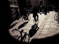 William Albert Allard.  Bicyclists in Ferrara, Italy