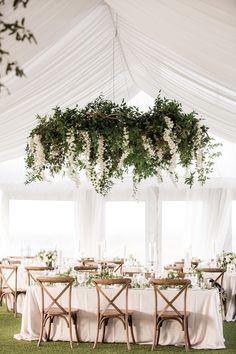 Hanging floral chandelier. Floral design by Winston Flowers.