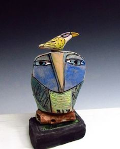 Owl handmade one of a kind artOwl and Yellow by BlueFireStudio