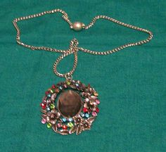 Stone focal with diamentes and silver necklace with magnetic clip - A$20.00