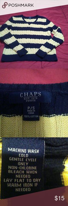 Chaps V Neck Sweater P/S Cable knit yellow & blue. Excellent Condition! Inventory#SB5 Chaps Sweaters V-Necks