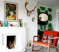 Marimekko wallpaper accent wall