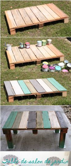 Long live the recovery! The garden coffee table in palette - DIY Makeover furniture - Create my decor! Pallet Projects Diy Garden, Pallet Garden Furniture, Pallets Garden, Pallet Crafts, Recycling Furniture, Diy Furniture, Craft Projects, Palette Table, Palette Diy