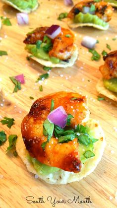 "Chipotle Shrimp Tostada Bites ""These are super easy and delicious! It only takes a minute or two to assemble...a beautiful appetizer at any event or party.""     