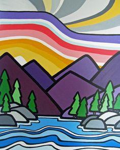 A day at the lake elementary art lesson plans art, fine art prints и art pr Landscape Art, Landscape Paintings, Arte Elemental, Zentangle, Colorful Mountains, Collaborative Art, Art Lessons Elementary, Art Lesson Plans, Art Plastique