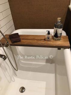 Rustic wood bathtub Tray - bath Caddy - The Rustic Pelican Wood Bath Tray, Wood Tub, Wood Bathtub, Bathtub Caddy, Bathtub Tray, Wooden Bathroom, Bath Tub, Bath Tray Caddy, Rustic Bathtubs