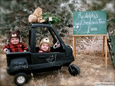 Sweet Tea Photography by Alyssa Bartram (in the beginning I was LiLu) started because of these two identical twin brothers right here. Baby photography has never been so fun. Props were done by LiLu Photography. What a perfect Christmas card photo. Whimsical in the feeling it provides with six month olds on a Christmas tree hunt in their little tikes truck.