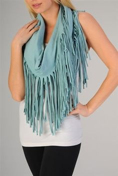 Jersey infinity fringe scarf from Esley